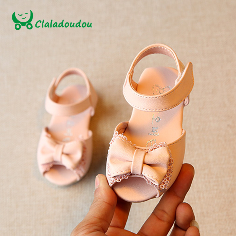 Claladoudou Bébé Sandales Filles Rose Dentelle Mignon Chaussures Enfants Fille blanc Arc Rose Rouge Bébé Sandales Pour Bébé Pantoufle Pour infantile