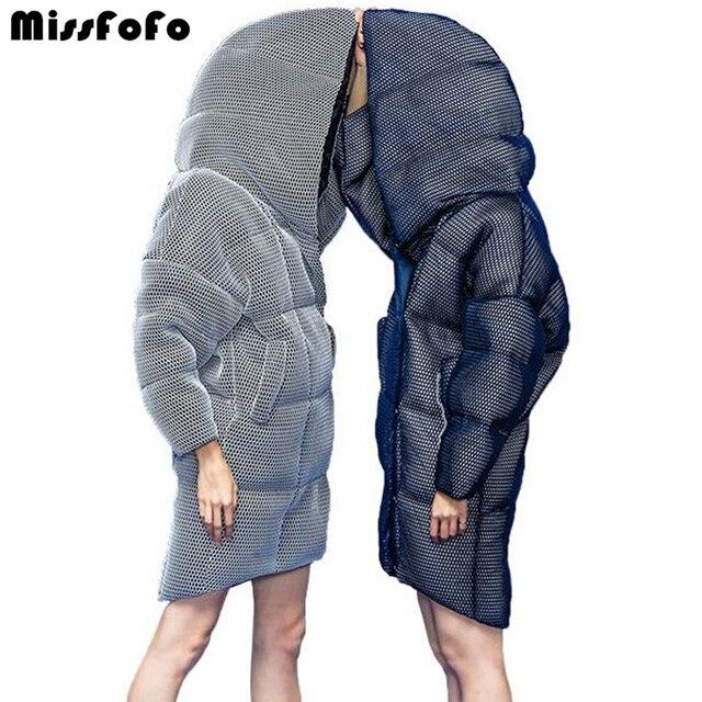 MissFoFo женские пуховики CLJ куртки Новые Модные женские парки 3D перспективность сетка Длинные пуховики женские зимние пиджаки