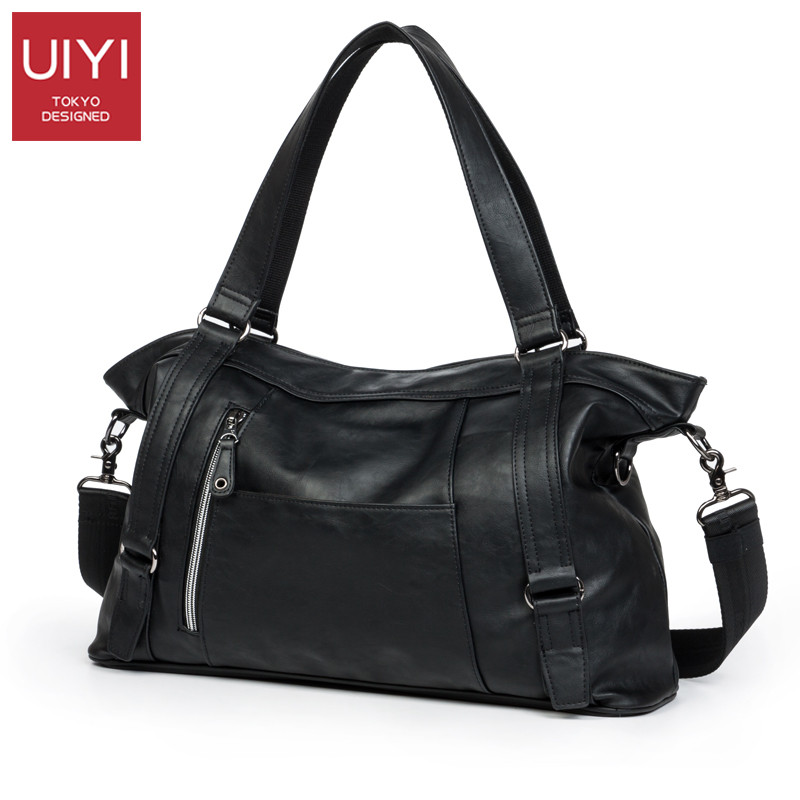 UIYI Men's handbag Black shoulder bag portable men laptop bag Leisure package PU Messenger Crossbody Bags male Hand bag