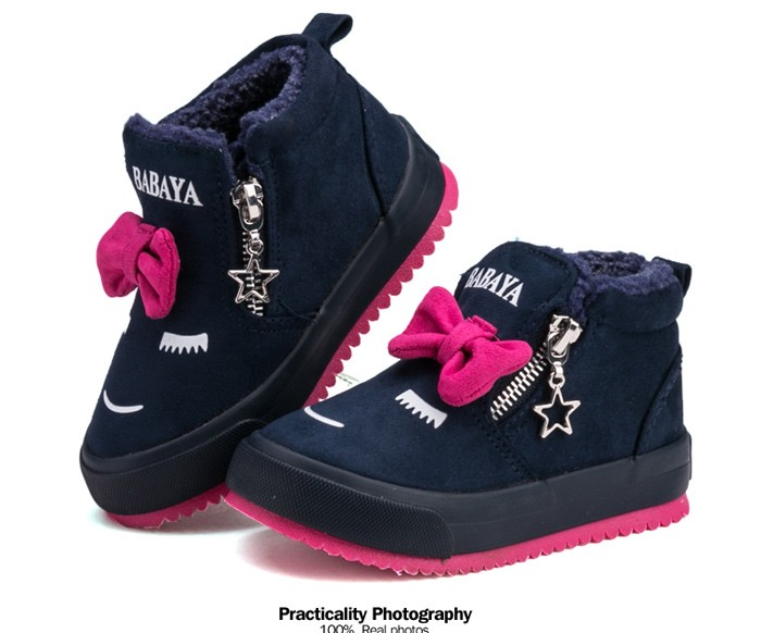 2017 Bowknot Kids Boots Girls Shoes Fashion Hot Warm Cotton Shoes Children Sneakers Winter Boots Cute Cartoon Smile Girls Boots 492 (4)
