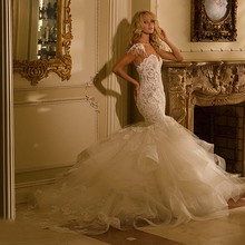 kejiadian Mermaid Wedding Dresses Chapel Train Brides Dress