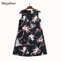Bán buôn 2018 Summer New Đáng Yêu Thiên Thần Nhỏ Printed Jacquard Đính Cườm Tay Mini Dress 171206JT01