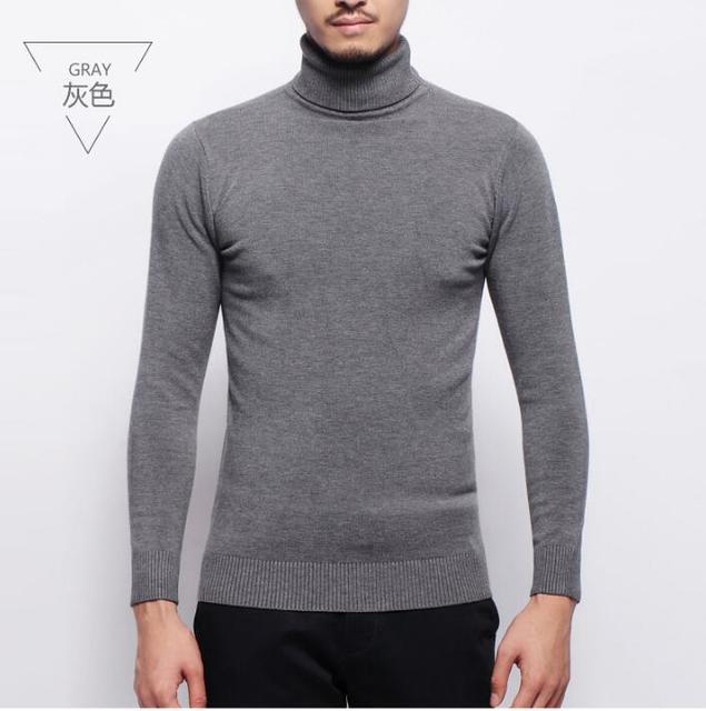 ae1a88bc5ee20 Cuello de tortuga para un hombre invierno lana suéter negro base suéter  hombres
