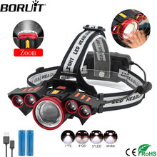 BORUiT T6+4*Q5 LED Motion Sensor Headlamp 60000lumens Rechargeable Headlamp 4-Mode Zoom Head Torch by 18650 Battery Flashlight boruit t6 4 q5 led motion sensor headlamp 60000lumens rechargeable headlamp 4 mode zoom head torch by 18650 battery flashlight