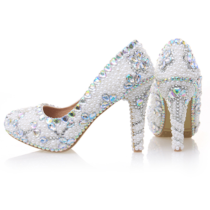 Pumps Women Wedding Pearl Shoes White High Heels Crystal Decor Round Toe Sexy Female Bridal Shoes Rhinestone Ladies Party Shoes aidocrystal 2016 new women shoes pumps flower sexy rhinestone round toe high heels ladies fashion brand wedding platform shoes