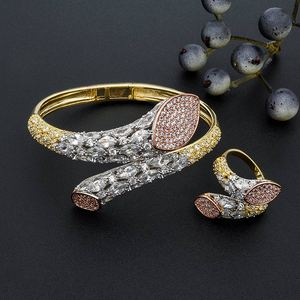 Image 5 - ModemAngel Luxury Brand Super AAA Cubic Zirconia Copper Bangle Ring Set Dress Engagement Party Wedding Bridal Jewelry For Women