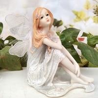 Resin Angel Sculpture White Home Decor Flower Fairy Figurines Garden miniature Wedding decoration Beautiful Girl decorative gift