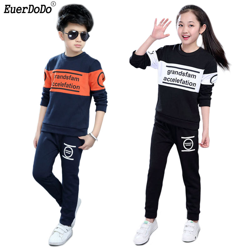 Sport Suit For Girl Long Sleeve T-shirt Pants 2pcs Kids Clothing Set Cotton Children Tracksuits For Girls Boys Teens Clothes Durable Modeling Boys' Clothing