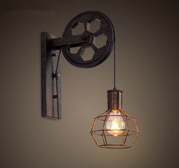 Iron wheel loft style wall lamp american country bedside for Country lighting fixtures for home