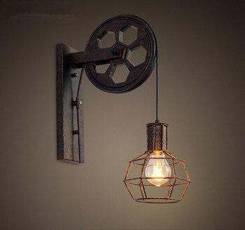 Roue de fer Style Loft Applique Murale américain pays chevet luminaires pour Bar café maison éclairages Applique Murale Luminaire
