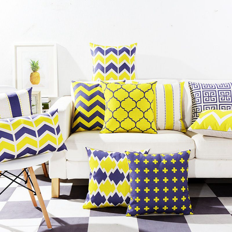 US $10.7 |yellow and blue cushion cover modern decorative throw pillow case  for sofa chaise lounge geometric cojines stripe funda cojin-in Cushion ...