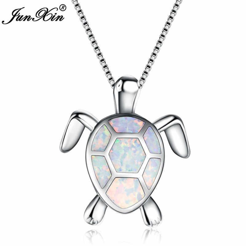 JUNXIN Синий/Белый огненный опал черепаха кулон для женщин 925 пробы серебро заполненное ожерелье с милыми животными ювелирные изделия подарок на день Святого Валентина