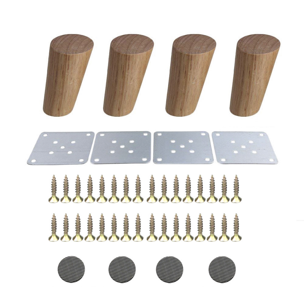 4PCS Oak Wood 100 120 150 180 200mm Furniture Legs Reliable Diagonal Side Cabinet Table Sofa Legs Iron Pads Gaskets Screws
