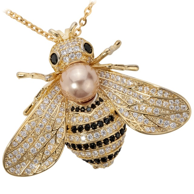 YACQ Cubic Zirconia Crystal Bee Insect Pendant Brooch Pin Women Fashion Jewelry Birthday Gift Mom