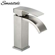 Smesiteli Drawing Factory Direct Solid Brass Bathroom Basin Sink Square Faucet Chrome Single Silver Waterfall Basin Faucet phasat n pblt waterfall basin faucet silver