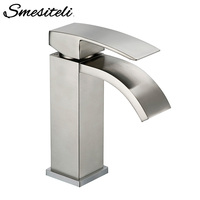 Smesiteli Drawing Factory Direct Solid Brass Bathroom Basin Sink Square Faucet Chrome Single Silver Waterfall Basin Faucet