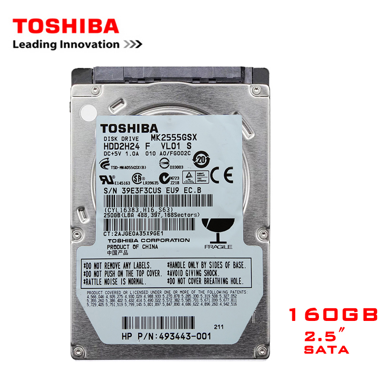 "TOSHIBA Brand 160GB 2.5"" SATA2 Laptop Notebook Internal 160G HDD Hard Disk Drive 100MB/s 2/8mb 5400-7200RPM disco duro interno"