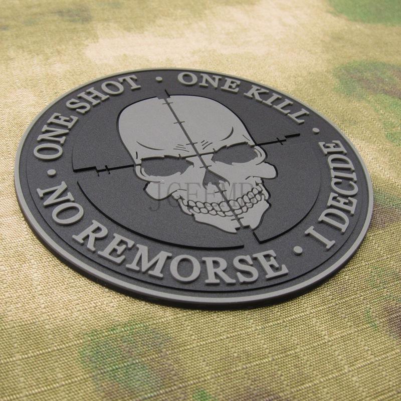 One Shot One Kill No Remorse I Decide Sniper Negro Patch PVC Airsoft Velcro
