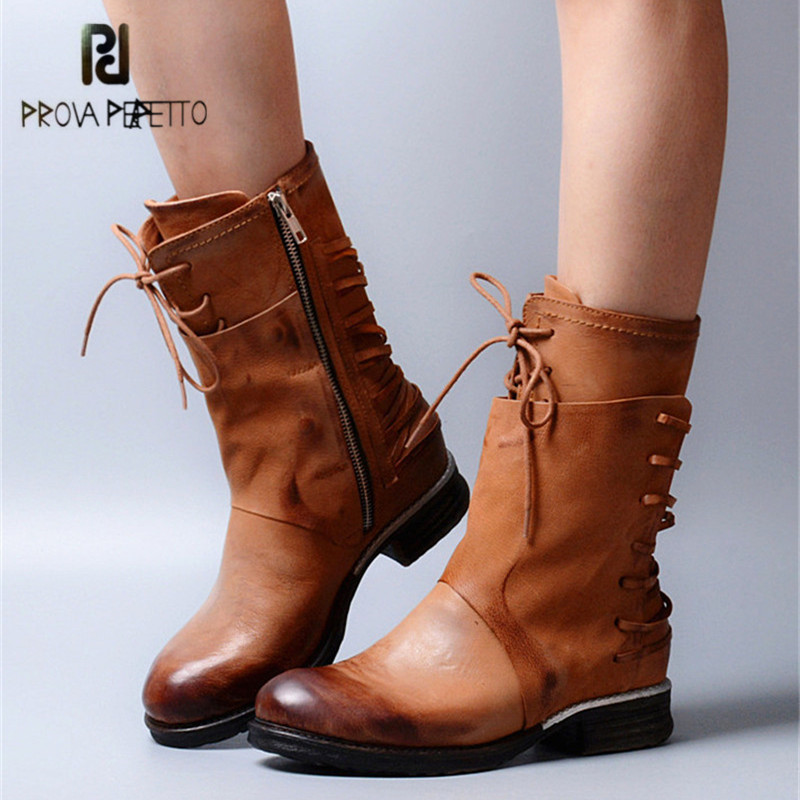 Prova Perfetto Genuine Leather Women High Boots Retro Lace Up Martin Boot Rubber Flat Shoes Woman Mid-Calf Platform Botas Mujer prova perfetto yellow women mid calf boots fashion rivets studded riding boots lace up flat shoes woman platform botas militares