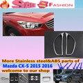 Para Mazda CX-5 2015 2016 CX5 carro lâmpada cabeça frente luz detector quadro vara styling ABS Chrome tampa trim peças 2 pcs