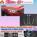 Para Mazda CX-5 2015 2016 CX5 frente cabeza del coche de la lámpara de luz detector marco stick ABS cromado cubierta partes 2 unids