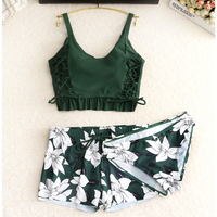 Set 2018 swimwear women tankini Vintage Floral Print green Swimsuit Padded Swimwear Bathing Suit Beach Wear Bikini Short skirt
