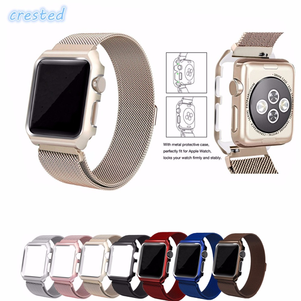 CRESTED Milanese Loop Strap For Apple Watch band 42mm/38 wristband Link Bracelet Stainless Steel band for iwatch 1 2 3 with case kopeck milanese loop strap for apple watch band 42mm 38mm mesh stainless steel bracelet strap for iwatch serie 1 2 3 wrist band