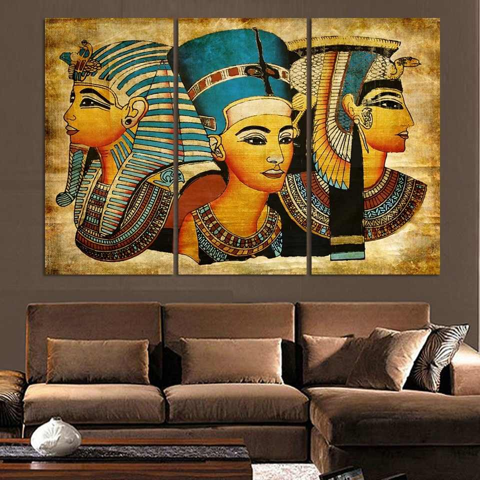 3 Piece New Wall Art Abstract Modern African Ancient Egyptian image Portrait Canvas Oil Painting On Prints For Living Room ht057