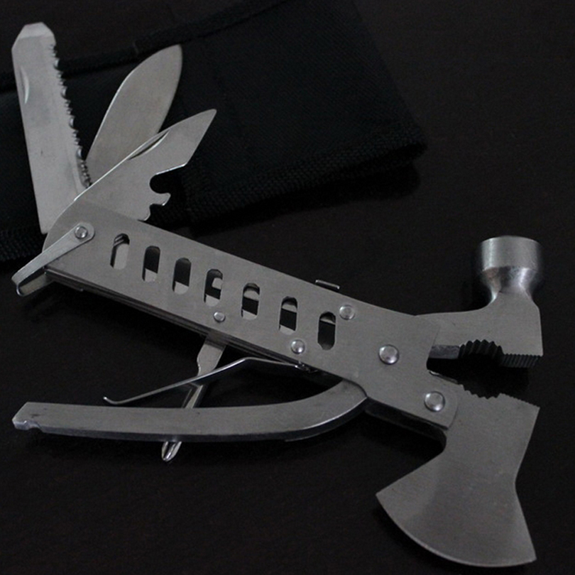 10 In1 Hammer Ax Edelstahl Messer Zange Schraubstock Schraubendreher Gezackten Messer Schere Jagd Überleben Werkzeuge Klapp Axt Durchblutung Aktivieren Und Sehnen Und Knochen StäRken