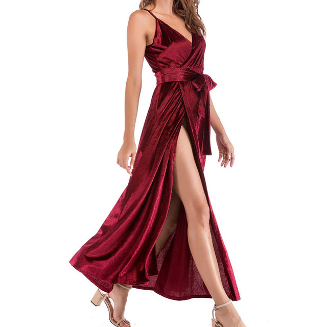 5be109d427 2018 Fall Pleuche Dress Women Elegant Spaghetti Strap Ball Wine Red Wrap  Dress Vintage Velvet Party