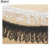 YACKALSI 5 Yards/Lot Fringe Tassel Lace Polyester Embroidery Appliqued Sewing Trims White Black Flower Lace 8cm
