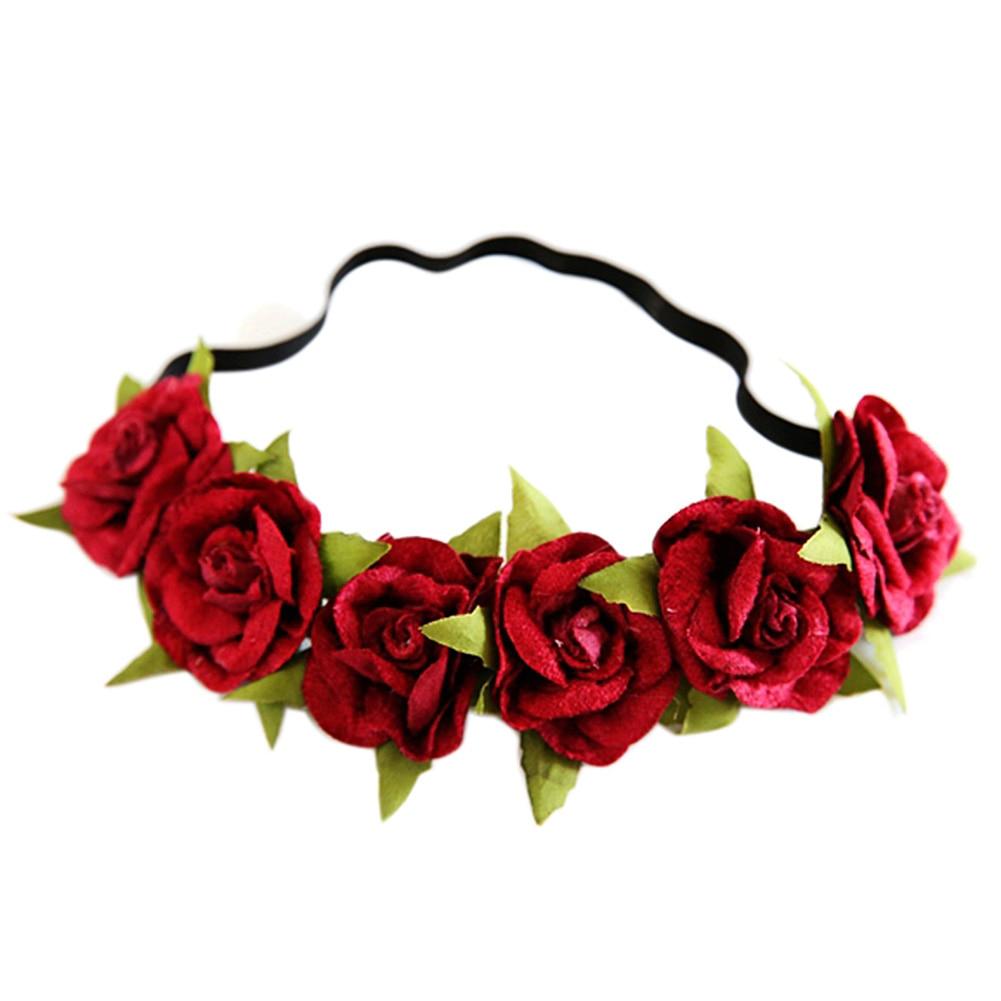 Efinny Beauty Rose Flower Crown Headband Wedding Elastic Red Floral