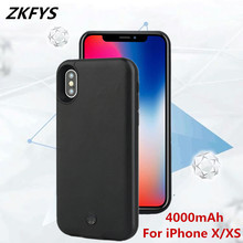 Power Cases For iPhone XS Battery Case 4000mAh Backup Cover Smart Charge X External Leather