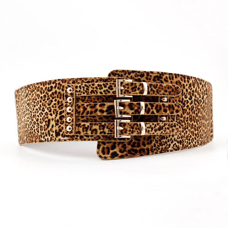 2019 Luxury Leopard Wide Elastic Belt for Women Three Metal Pink Buckle Waistband Cummerbunds PU Leather Belts Ladies Cinturon