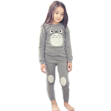 Купить с кэшбэком 2017 Spring Children Clothing Cotton Kids Pajamas Totoro Clothing Set Fashion Pijama Infantil Kid Boys Sleepwear Girls Sleepwear