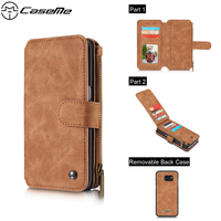 CaseMe 2 In 1 Leather Magnetic Wallet Case For Samsung Galaxy S7 S7 Edge With Holder