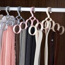 6-anel de armazenamento gancho cachecol gravata titular rack cinto pendurado multi-funcional cachecóis círculo cabide acessórios para uso doméstico