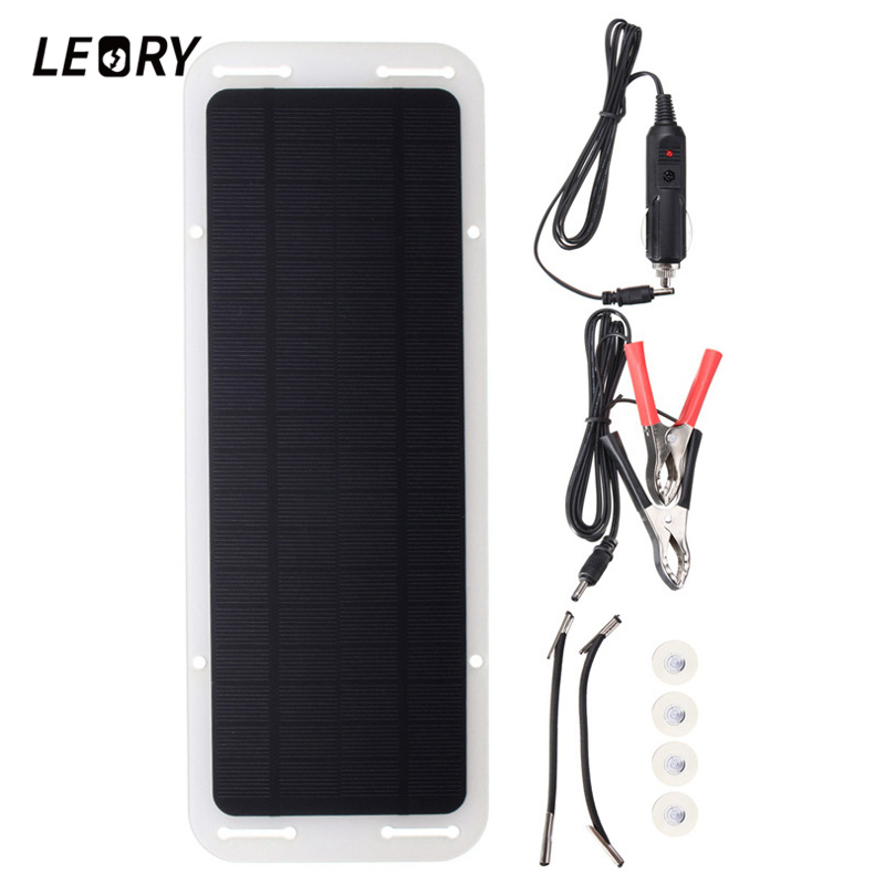 LEORY <font><b>12V</b></font> <font><b>5W</b></font> <font><b>Solar</b></font> Power Portable Car Boat Battery Power <font><b>Solar</b></font> <font><b>Panel</b></font> Monocrystal Backup Charger image