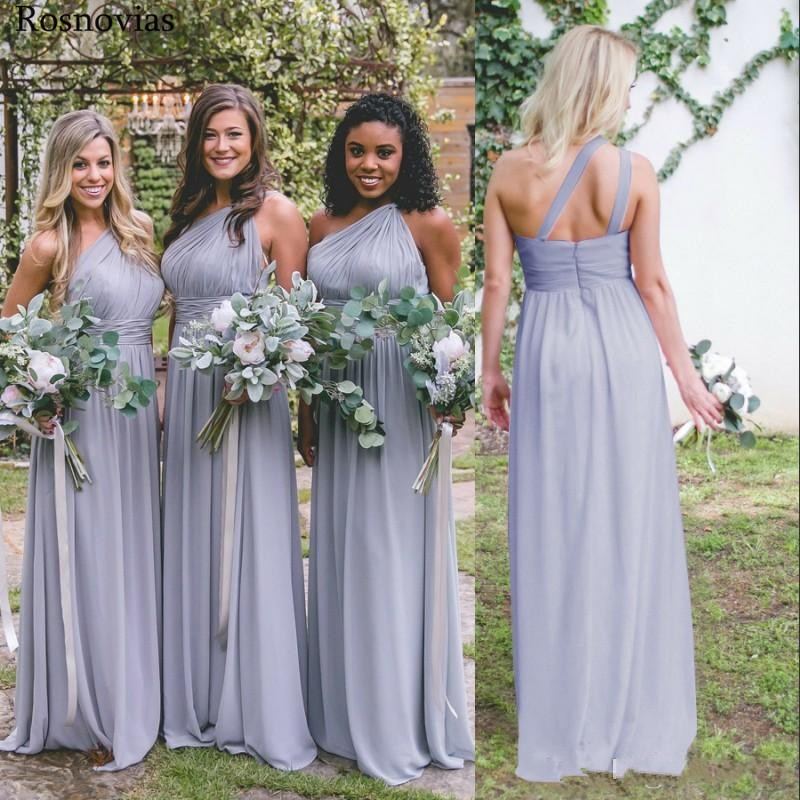 Cheap   Bridesmaids     Dresses   2019 One Shoulder Backless Wedding Guest Maid Of Honor Gowns Long Chiffon   Bridesmaids     Dresses   Custom