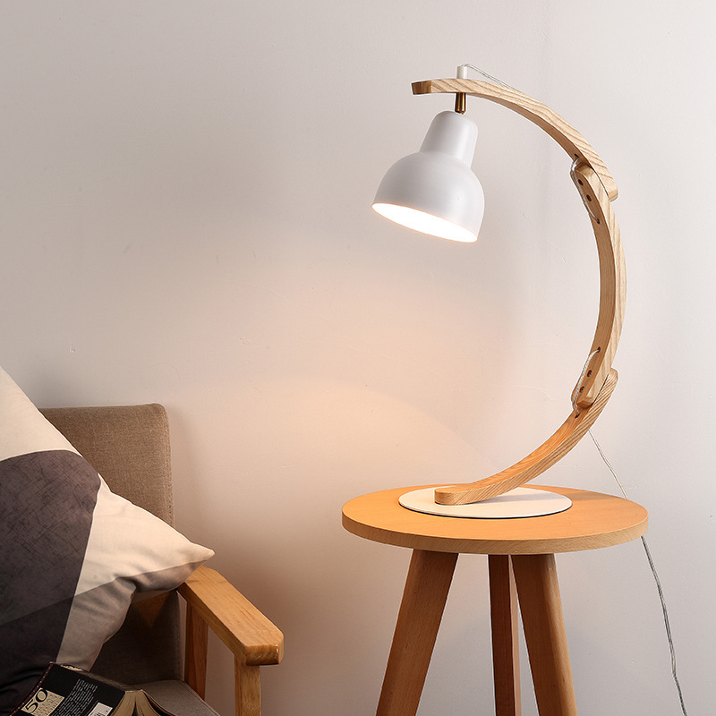 TUDA Free Shipping Modern Style Desk Lamp Wooden Desk Lamp Creative LED Eye Care Desk Lamp For Study Room Bedroom Bedside E27