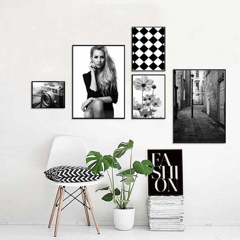 Prints Wall Art Nordic Style Black White Retro Camera Poster Beauty Flowers Street Painting Canvas Modular Pictures Home Decor