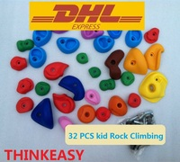 THINKEASY 32 pcs Plastic childre Indoor Rock Climbing puzzle Wall Kit Stones Toy outdoor Sport game Kindergarten With screw