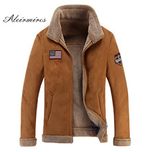 Aleirmires High Quality Men Sheep Suede Motorcycle Jacket Brown Full Lined Soft Faux Leather Male Coat