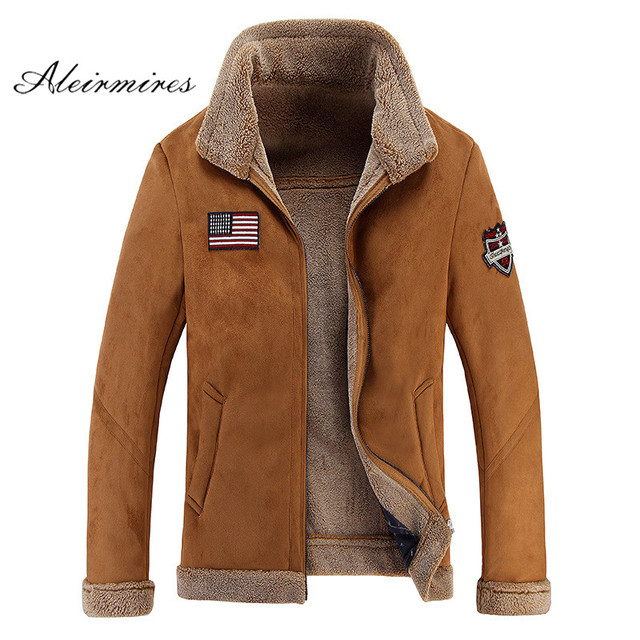 Aleirmires High Quality Men Sheep Suede Motorcycle Jacket Brown Full Lined Soft Faux Leather Male Coat Cashmere Warm Jackets Men