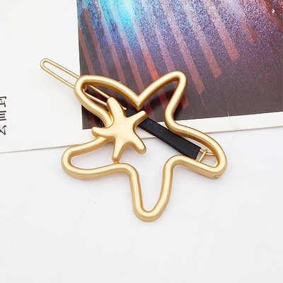 Gadis Jepit Rambut Perhiasan Logam Bintang Crown Kata Kartu Liu Pantai Klip Eropa dan Amerika Geometris Sederhana Aksesoris Rambut