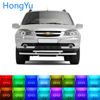 Latest Headlight Multi color RGB LED Angel Eyes Halo Ring Eye DRL RF Remote Control for Chevrolet Niva 2009 2013 Accessories