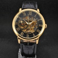 3d Logo Design Hollow Engraving Black Gold Case Leather Skeleton Mechanical Watches Men Luxury Brand