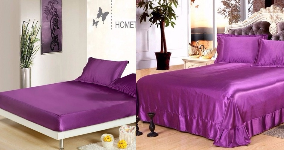 silk sheets purple bedding set satin flat fitted bed sheet bedspread super cal king size queen full twin linens customize 4pcs