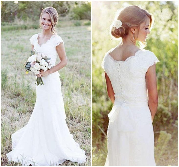 Short Sleeve Lace Wedding Dresses 2016 Chiffon Simple