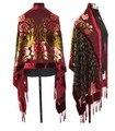 Бесплатная Доставка Бургундии Китайских женщин Бархат Шелк Бисером Вышивка Шарфа шали Павлин WS-084
